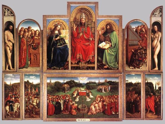 The Ghent Altar piece by Jan van Eyck. Amazing and one we must see in person one day!