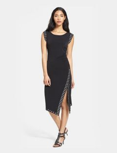 MICHAEL MICHAEL KORS MK Studded Asymmetric Hem Stretch-Knit Dress