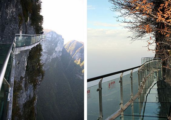 Glass Walkway built on the side of the Mountain. I would love to try walking here. the question is will i survive?