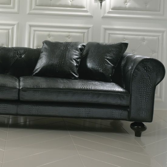 Contemporary Black Alligator Embossed Pattern Leather Sofa In 2020