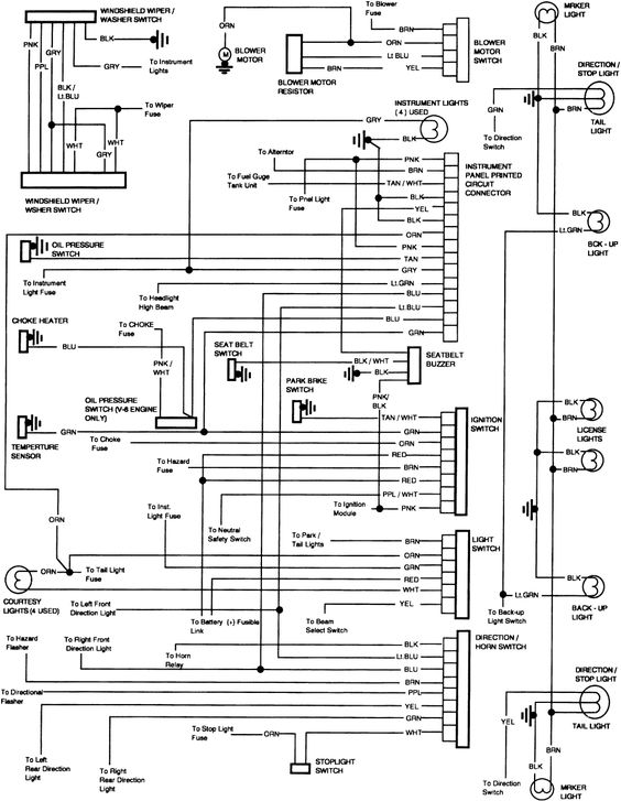 headlight and tail light wiring schematic diagram typical 1973 85 chevy truck wiring diagram | 85 chevy: other lights ...