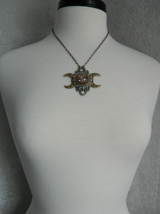 FIRE AND ICE  Custom Order  Triple Moon Goddess by CrowHavenRoad, $44.00