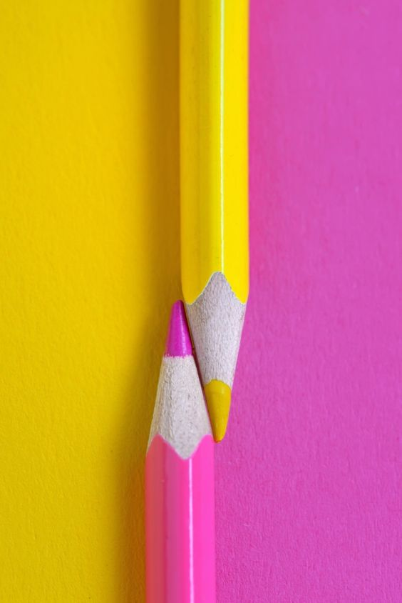 pink and yellow . crayons ✿