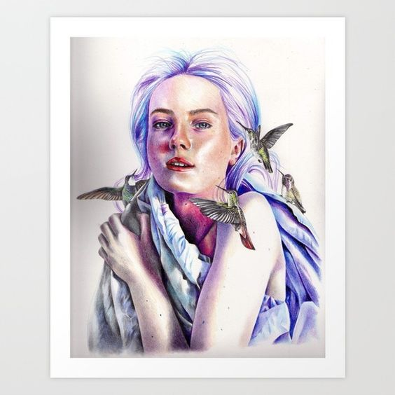 Girl with the Hummingbirds Art Print by KatePowellArt | Society6