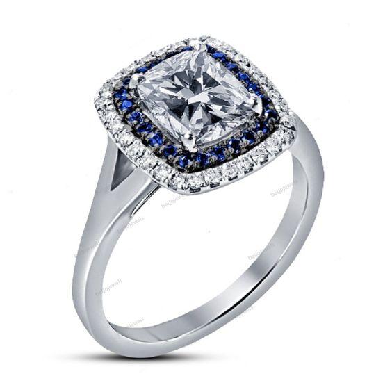 Dazzling Cushion D/VVS1 Diamond Women's Double Frame Halo Ring Split Shank…
