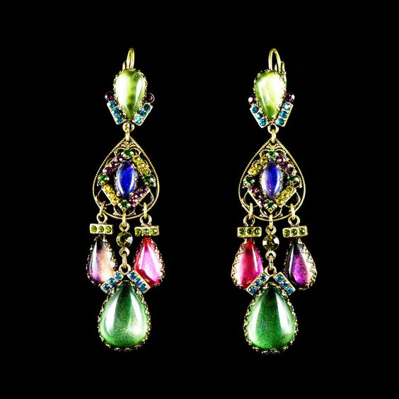 Konplott 'Indian Paradise' Tear Drop Multi Coloured Long Earrings | Alexandra May Jewellery