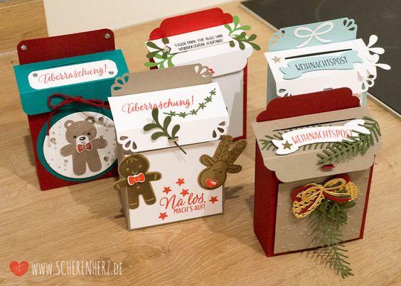 Weihnachtspost ist da! - eine Briefkasten Verpackung Werke die bei meinem letzten Workshop entstanden sind. Farben: Smaragdgrün, Glutrot Stampin'Up
