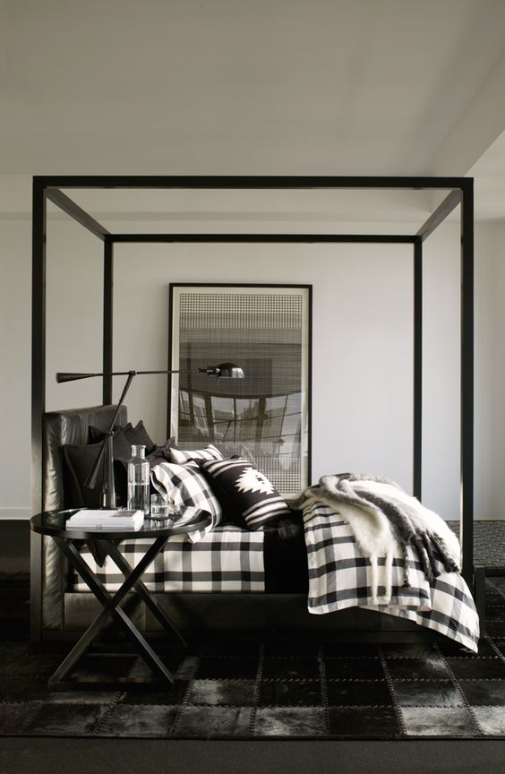 Ralph Lauren Home's modern plaid bedding in a sleek palette of black, charcoal and white: