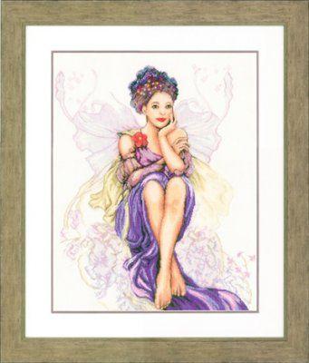 Lanarte Kits PN150005 Purple Butterfly Girl  30 Count Linen