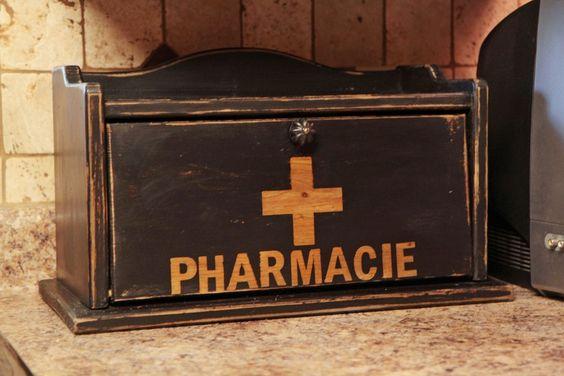 Old bread box turned into a medicine cabinet.