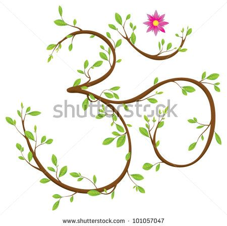 Om symbol made of twigs, leaves and a blossom. Om or Aum is a sacred syllable in Hinduism, Buddhism and Jainism by Inga Nielsen, via ShutterStock