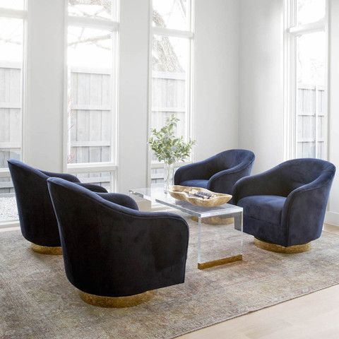 Mayes Swivel Chair In Navy Velvet Swivel Chair Living Room Lounge Chairs Living Room Living Room Seating