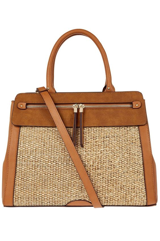 Womens Accessorize Nude Raffia Handheld Bag -  Brown