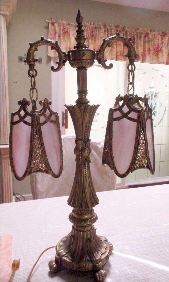RARE VINTAGE ANTIQUE Art Nouv/Deco Pink SLAG GLASS DOUBLE SHADE LITE TABLE LAMP #ArtNouveau