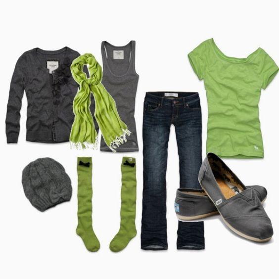 Love this outfit: Green And Gray, Casual Outfit, Green Grey, Grey Toms, Favorite Colors, Color Combos, Green Gray, Dream Closet, Color Combination