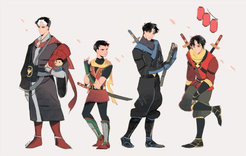 Robins From Batman Ninja Red Hood Robin Nightwing Red Robin Bat Family Batman Ninja Batman Family