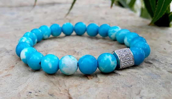 Mens Womens Sea Blue Gemstone with Swarovski by Braceletshomme