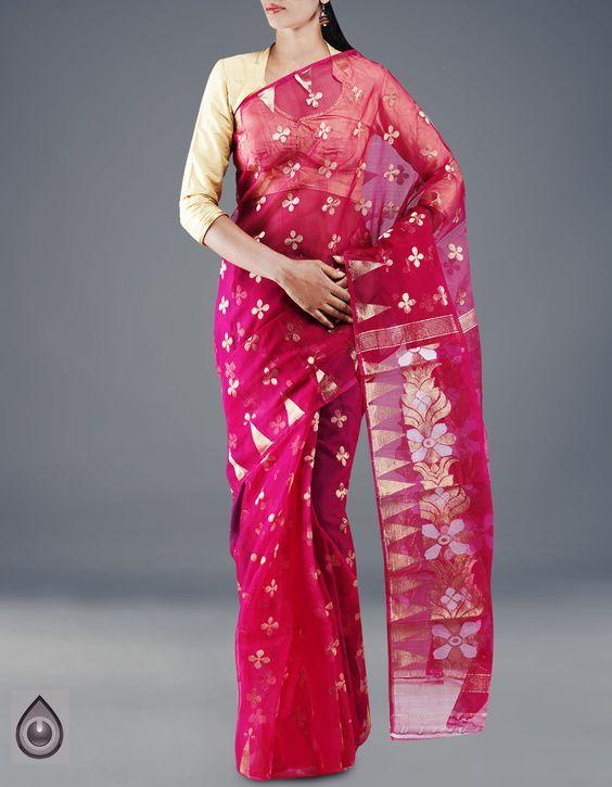 UNM14593-Purple Handloom Pure Tussar Katan Jamdhani Silk Saree