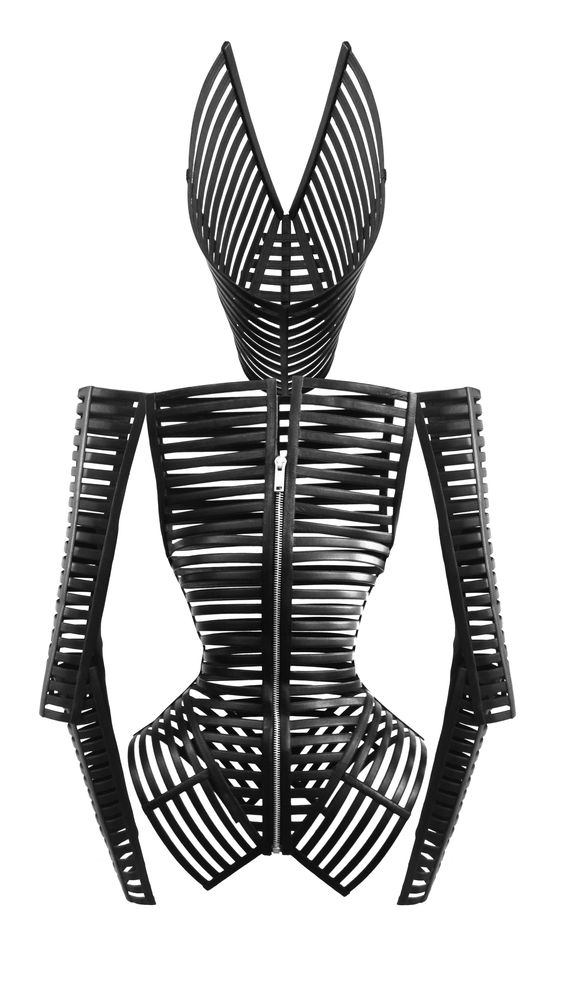 Gareth Pugh: Black Leather Cage Jacket. This reminds me of an armadillo protective shell, but is this protection or imprisonment?