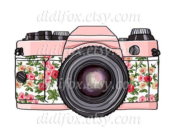 Retro pink photo camera floral print Printable Digital by DidiFox
