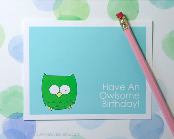 Cute Birthday Cards For Him ~ Funny birthday card for friend her him fun happy bday cute owl pun handmade greeting cards gifts