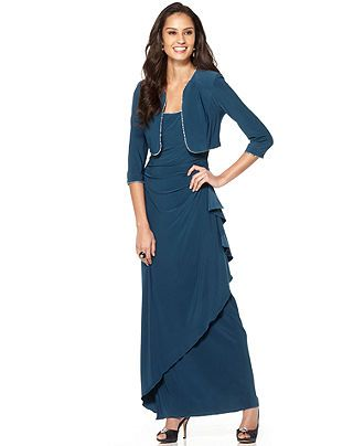 Alex Evenings Dress and Jacket, Draped Beaded Trim - Womens Dresses - Macy's