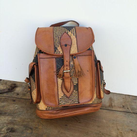 Backpack Indolink Vintage Indonesian Woven Rucksack