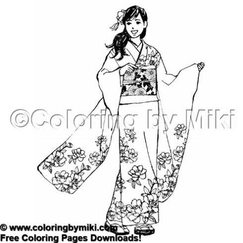 Beautiful Kimono Woman Coloring Page 1938 Printable Art Download Free Printable Art Coloring Pages