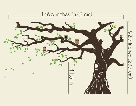 Large Tree Wall Decals Trees Decal Nursery Tree Wall Decals, Tree mural with owls on branches, Vinyl Wall Decal - MM006