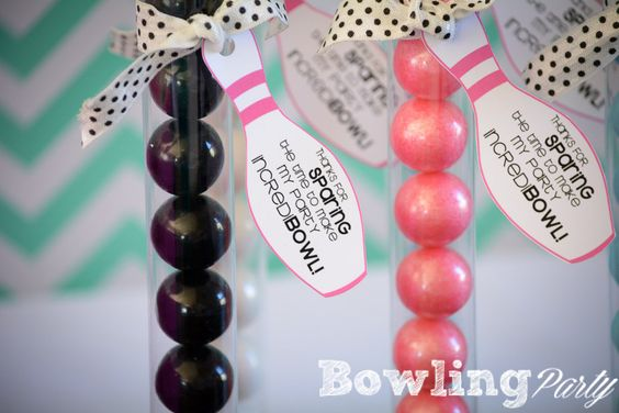 Bowling Party Favor ideas.  Thanks for sparing the time to make my party IncrediBOWL!