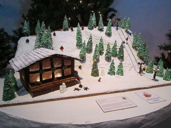 "Youth Division - ""Gingerhill Ski Slope."" Materials used: ice cream cones, powdered sugar, frosting, noodles, and Lifesavers. (2013 entry)"