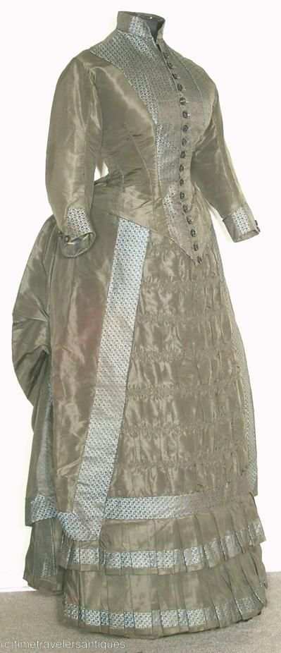 1880's Dresses | All The Pretty Dresses: 1880's Sage Green Bustle Dress