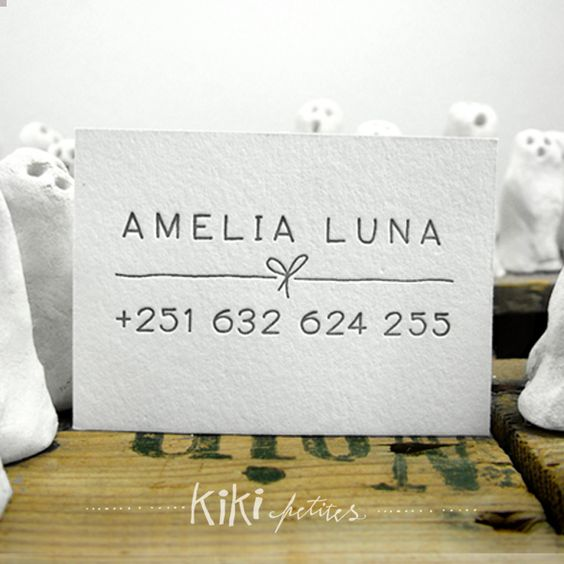 luna - letterpress mini social cards with lovely packaging on sets of 100.