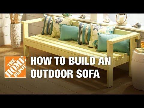 Diy Patio Furniture Outdoor Sofa The Home Depot Youtube Diy Patio Furniture Diy Outdoor Furniture Outdoor Sofa