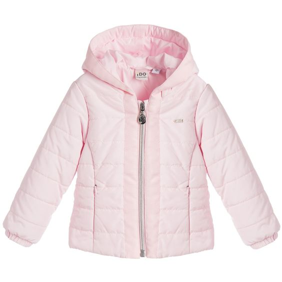 Baby Girls Pale Pink Quilted Jacket with Hood | Pink Hoods and Babies