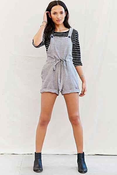 Mixed Business Linen Shortall Romper - Urban Outfitters