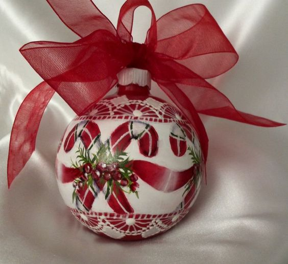 Hand Painted Ornament Christmas Cottage Chic Candy Canes Shabby Lace HP