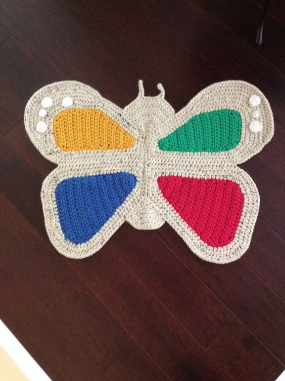 Crochet butterfly rug by PeanutButterDynamite on Etsy