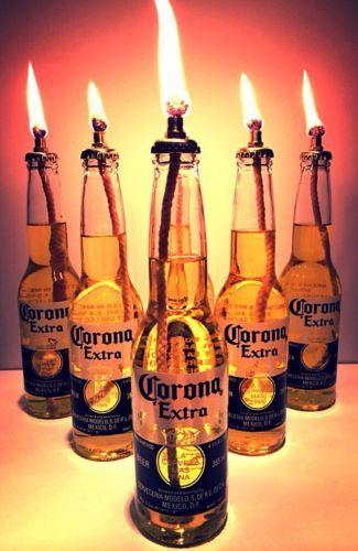 Corona Extra Beer Tiki Torch Set Outdoor Indoor Table Top Lantern Oil Burner