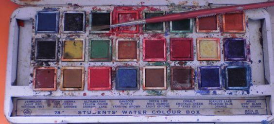 Old blue tin watercolor set.