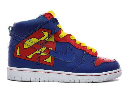 Nike Superman Shoes Dunk High Tops For Sale : Cool High Tops Nikes Dunks Adidas Converse Cartoon Shoes, Cheap For Sale