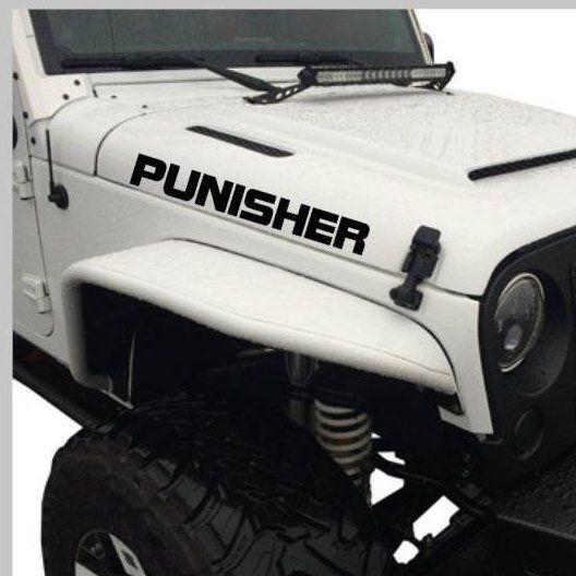 Custom Jeep Name Hood Decal Jeep Hood Decal Jeep Decal Jeep Hood Sticker Punisher Hood Decal X2 By Stickupgraphix O Custom Jeep Jeep Hood Decals Jeep Names