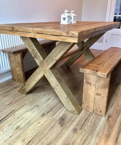 Details About Handmade Rustic Reclaimed Wood Dining Table And