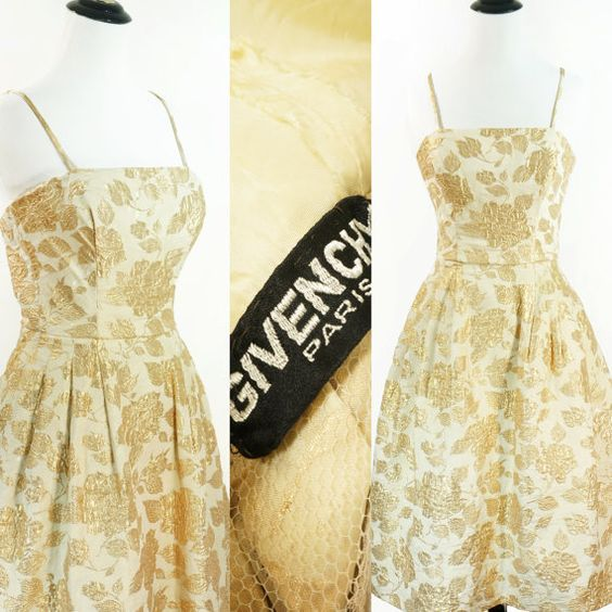 VINTAGE 50's Givenchy Gold Brocade Dress Gown So Very Audrey Stunning Bombshell Dress