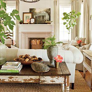 2012 Idea House: Farmhouse Restoration | Living Room | SouthernLiving.com: Sofa Table, Coffee Table, Livingroom, Living Room, Family Room, House Idea