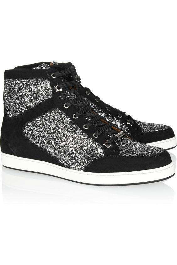 Jimmy Choo. Comfortable Glitz.: High Top, Glitterfinished Suede, Suede Sneakers, Jimmy Choo, Glitter Finished, Choo Hightops, Choo Glitter, Choo Sneakers