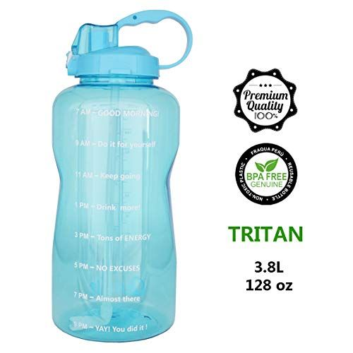 Quifit 128oz Portable Drinking Straw Daily Water Bottle Sport Water Jug Gallon Bpa Free Non Leak Design With Time Marked To Ensure You Drink Enough Of Water Thr Sport Water Bottle
