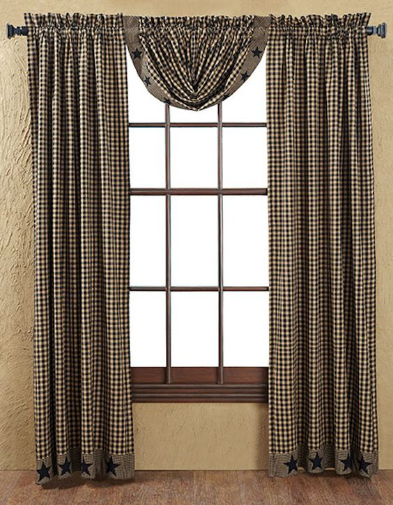 Curtains Ideas country home curtains : Black Star Applique Window Panels and Balloon Valance...Colonial ...