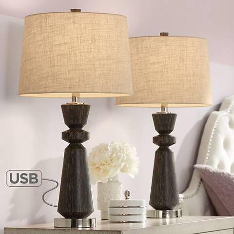 Albert Wood Finish Modern Usb Table Lamps Set Of 2 44v31 Lamps Plus Table Lamp Sets Table Lamps Living Room Modern Table Lamp