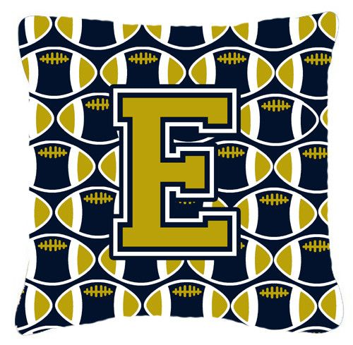 Letter E Football Blue and Gold Fabric Decorative Pillow CJ1074-EPW1414